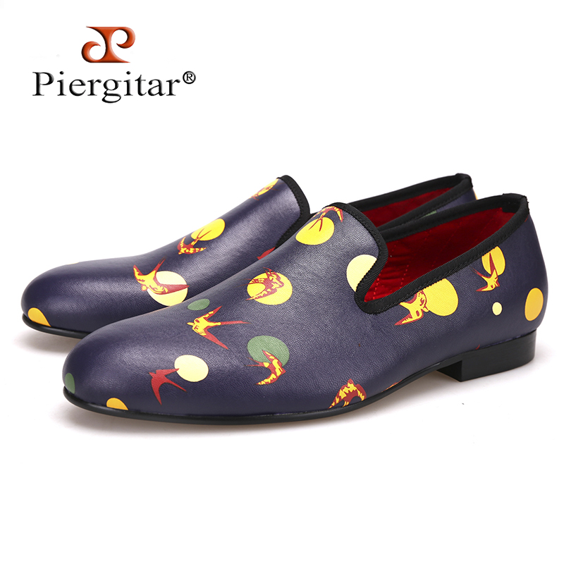 Piergitar 2018 new style Handmade men loafers with Mixed Colors printing Big size Men's casual shoes for Fashion party and prom new fashion gold snakeskin pattern loafers men handmade slip on leather shoes big sizes men s party and prom shoes casual flats