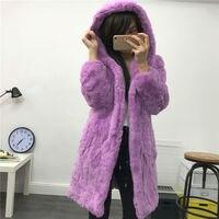 Rex abrigo de pieles abrigo largo abrigo de capucha cálida chaqueta de piel Verdadera