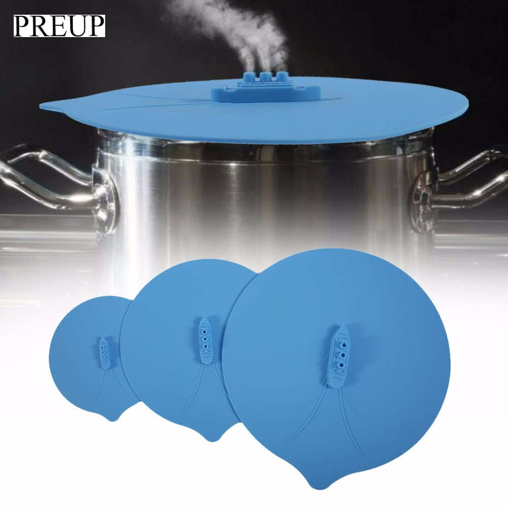 PREUP 3Pcs/Set Pot Cooker Cover Silicone Spill Stopper Lid