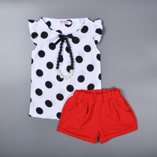 summer style baby girls clothing set polka dot t shirt+red shorts 2pcs clothing set for girl 2017 cute kids girl clothing sets