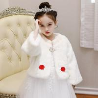 Luxury Long Sleeves with the thick soft Faux Fur shawl wedding flower girls shawl cape free sizes for wedding party