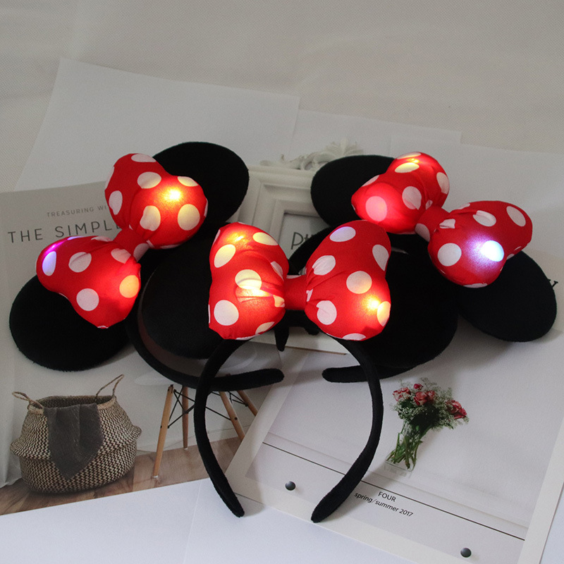 LED Children Mickey Minnie Headband Pink Ear Headband Bow Hair Accessories for Birthday Party Celebration Girls Hair Accessories