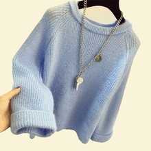 2018 New Autumn Winter Women Sweaters Solid Color Soft Mohair Knitting Pullovers Loose Knitted Sweaters Female Jumper Tops