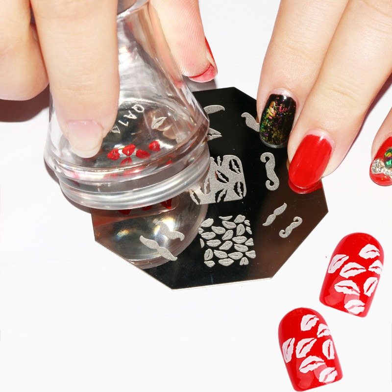 UV Gel Clear Nail Art Stamper Scraper Set with Cap 3.8cm Transparent ...