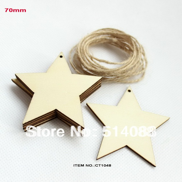 (set of 50) 70mm Natural rustic wood star tags wishing tree favor plain custom tags with string hanging-CT1048