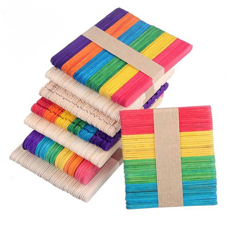50Pcs Childrens DIY Colored Ice Cream Wooden Sticks Primary Color Popsicle Tools TB Sale