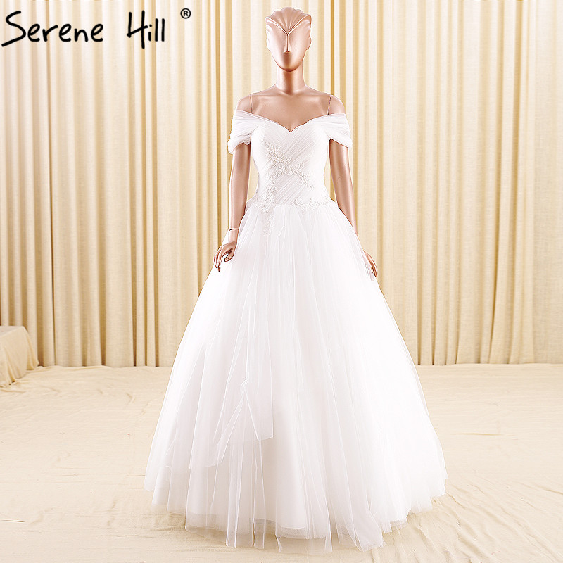 White Sleeveless Sexy Princess font b Wedding b font Dresses 2017 Pearls Fashion Simple Tulle font