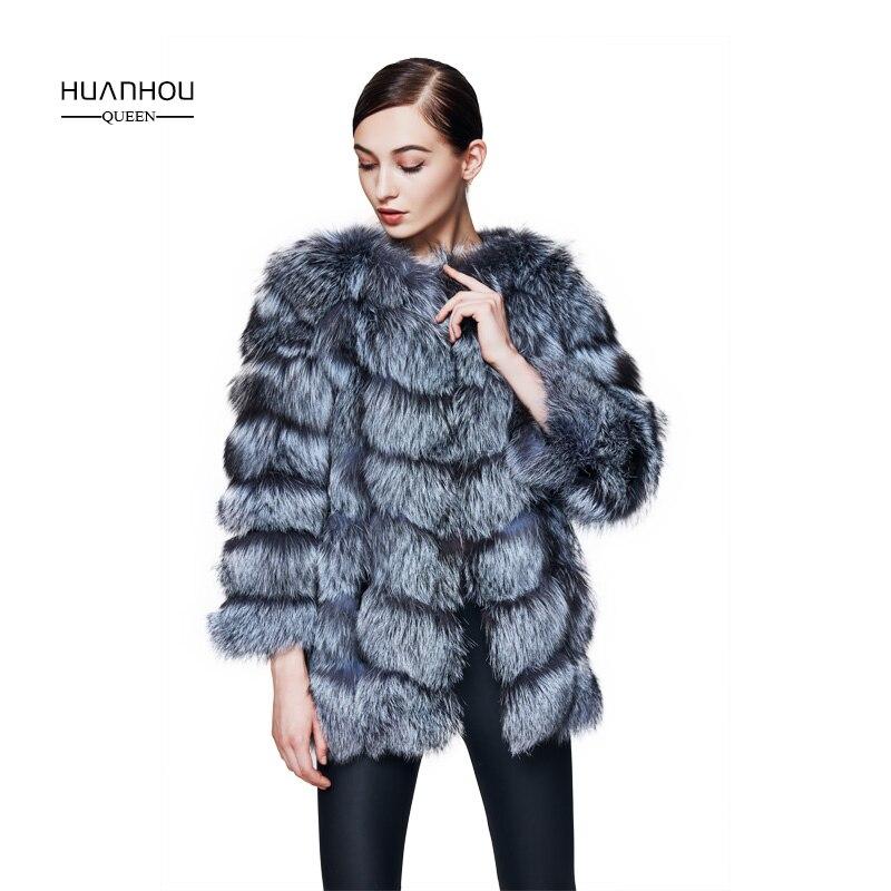 Huanhou reine vraie nature argent manteau de renard pour les femmes, avec peut manches amovibles, chaud mince manteau de mode.