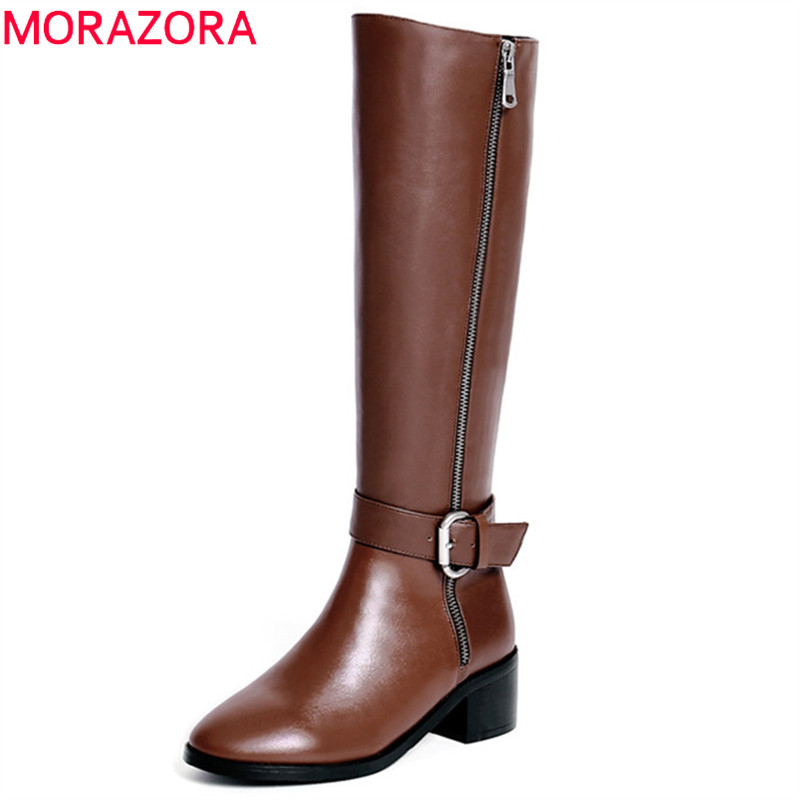 MORAZORA 2018 new fashion shoes woman genuine leather knee high boots round toe autumn winter boots simple zip fashion boots autumn and winter high quality new arrive genuine leather simple zip ankle boots fashion round toe sweet women boots