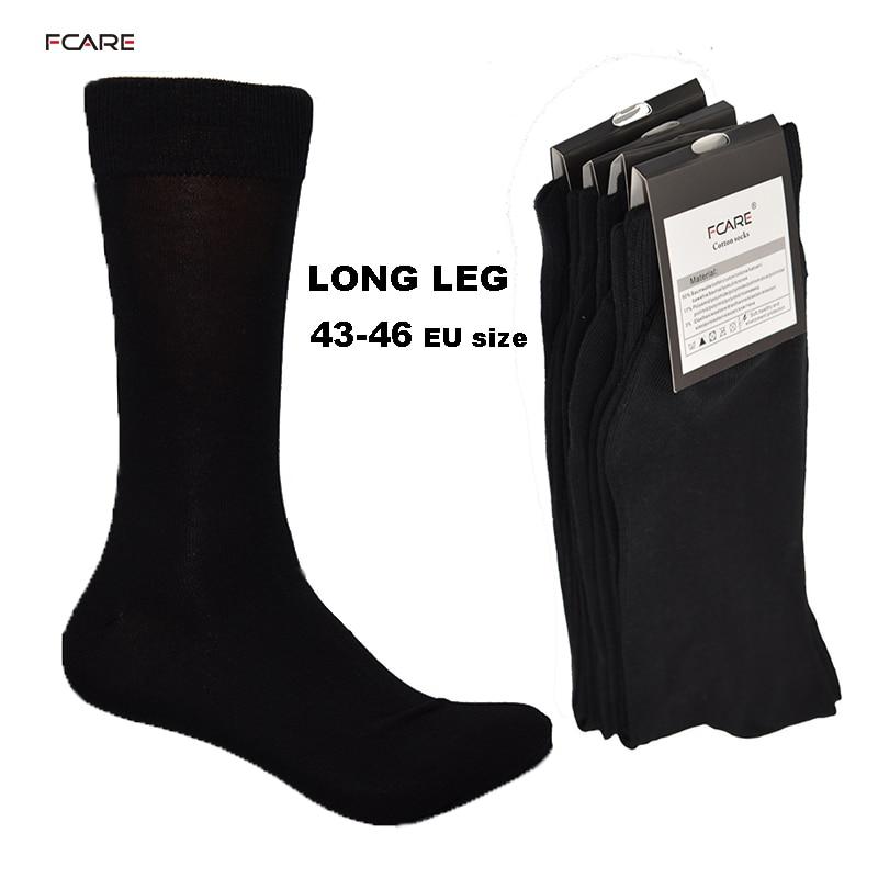 Fcare 10PCS=5 Pairs 43, 44, 45, 46 EU Plus Size Long Leg Business Socks Crew Socks Men Cotton Dress Business Black Socks
