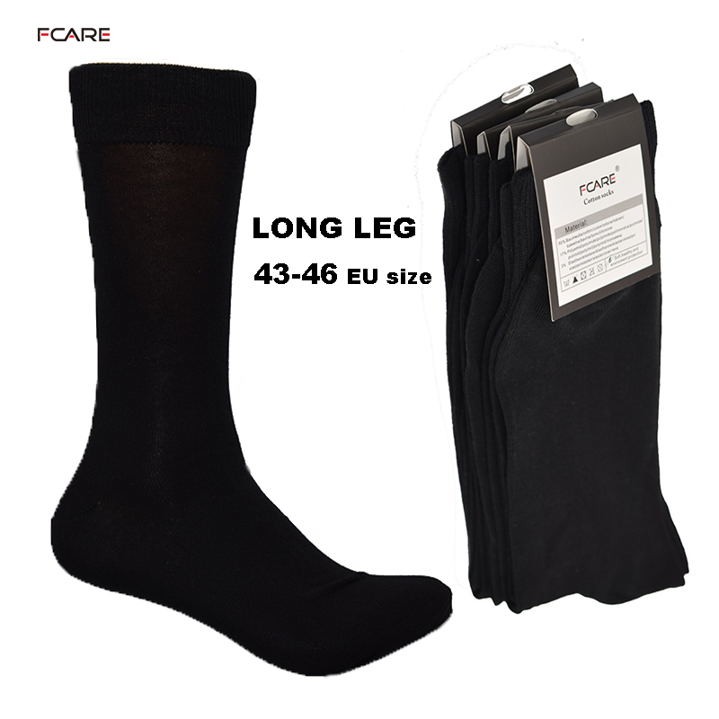 Fcare 10PCS=5 pairs 43, 44, 45, 46 EU plus size long leg business socks crew socks men cotton dress business black socks
