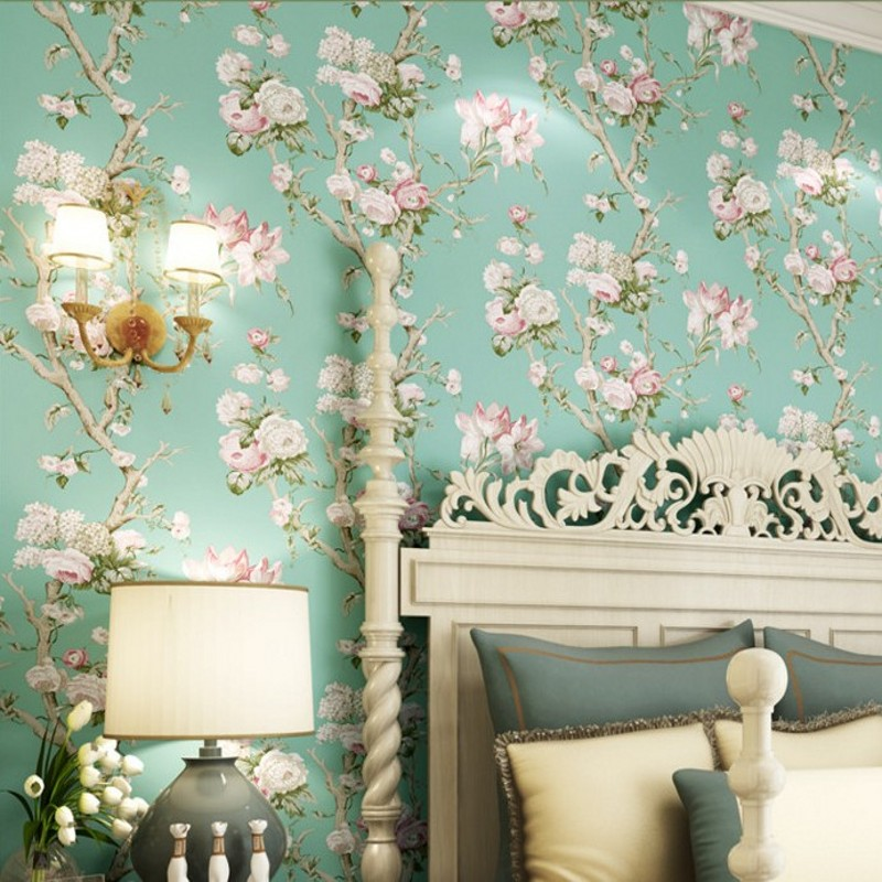 Free Shipping American countryside pastoral flower wallpaper retro green flower bedroom living room bedside background wallpaper