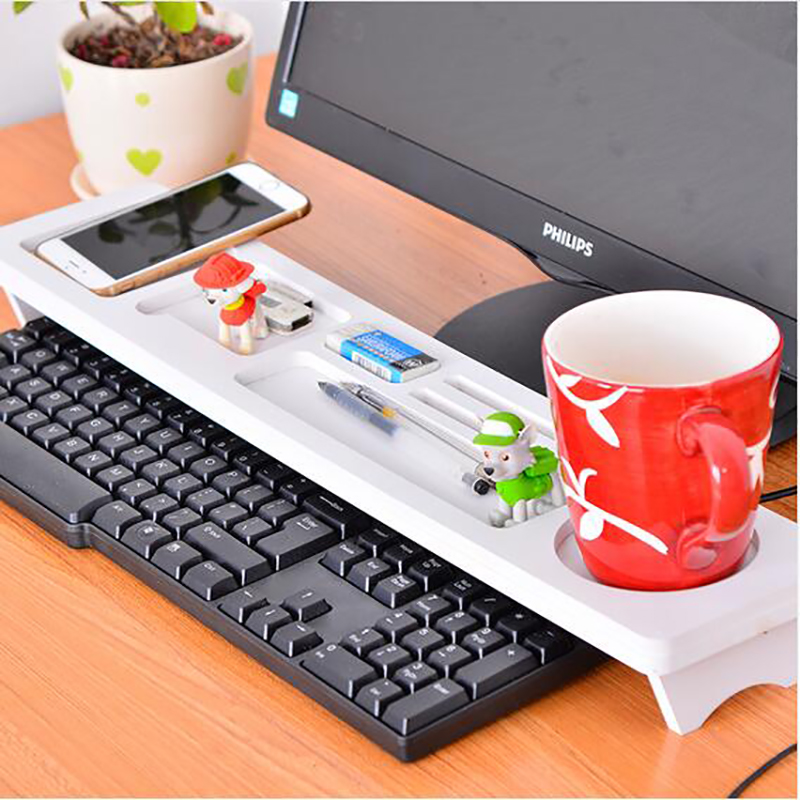 Best Value Desktop White Computer Keyboard Storage Shelf Rack Wooden Plastic Board Pen Holder Home Decor Hanger Multi-function