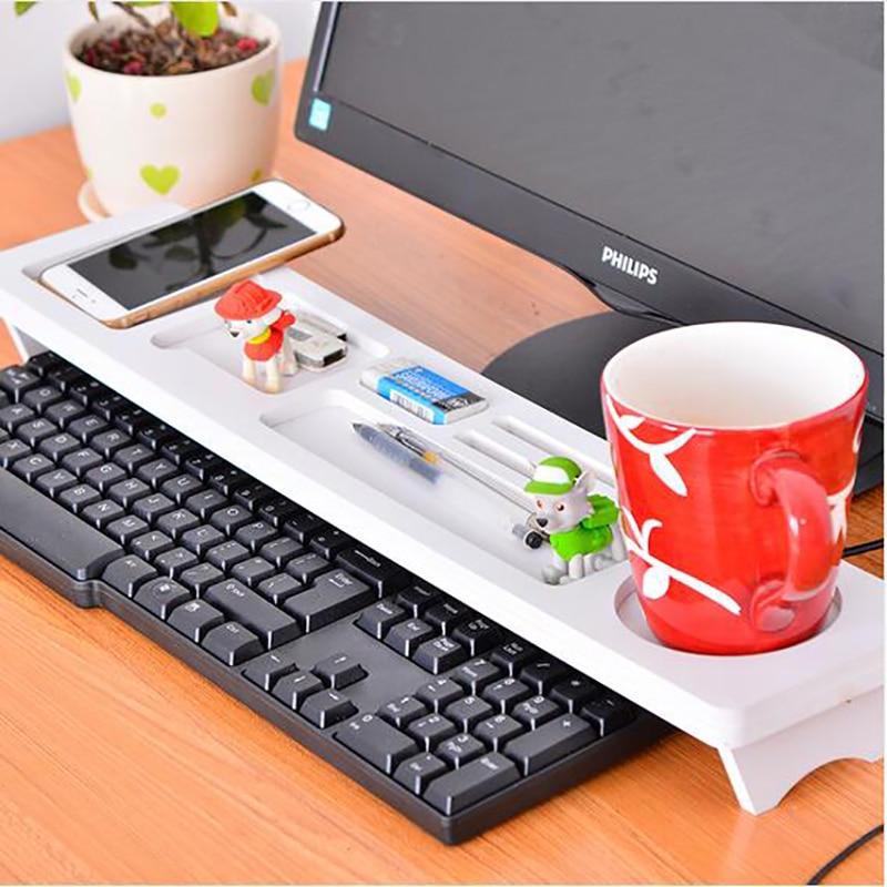 Best Value Desktop White Computer Keyboard Storage Shelf Rack Wooden Plastic Board Pen H ...