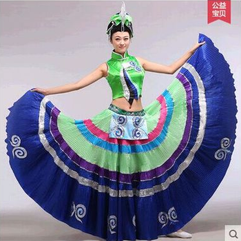 embroidery Chinese Ethnic dance performance costumes original Yi Minority Tribal style clothes for folk dance show