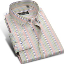 2017 Males's Multi-Striped Lengthy sleeved Informal Gown Shirts Button down Design Sq. Collar Common 100% Cotton Match Shirt Males