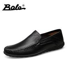 Боле осень новый ручной мужская кожаная обувь модные Дизайн без шнуровки круглый носок Для мужчин Лоферы для вождения автомобиля комфорт обувь большого размера на плоской подошве Мужская обувь
