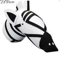 KiWarm Zebra 3D Felt Animal Head Figurines Ornaments for Children Room Wall Birthday Party Christmas Hanging Decor Gift