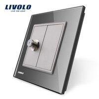 Wholesale Retail Grey Crystal Glass Panel VL C791ST 15 1 Gang Satellite Socket Outlet Without Plug