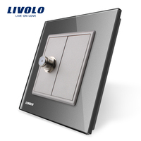 Wholesale Retail Grey Crystal Glass Panel VL C791ST 15 1 Gang Satellite Socket Outlet Without Plug