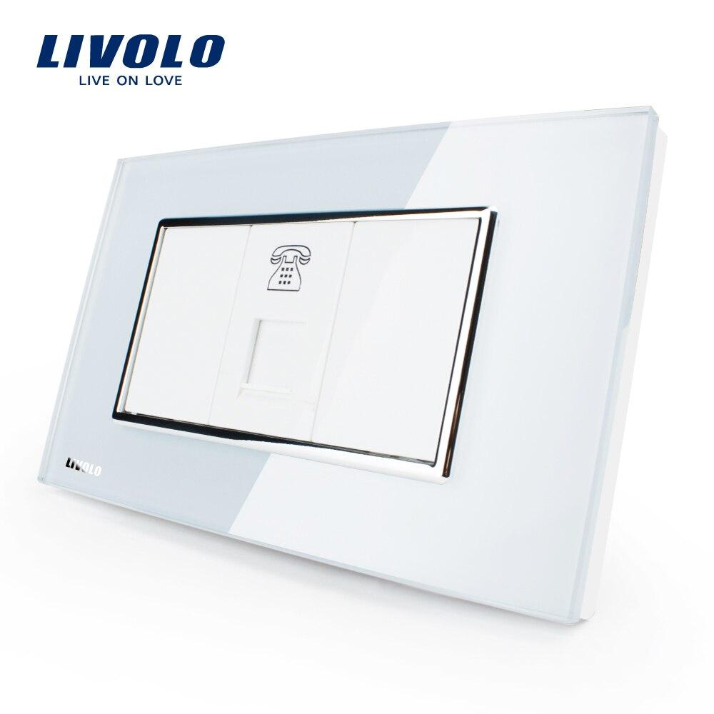 Livolo US Standard Power Socket,White/Black Crystal Glass,Telephone Socket 1 Gang, VL-C391T-81/82