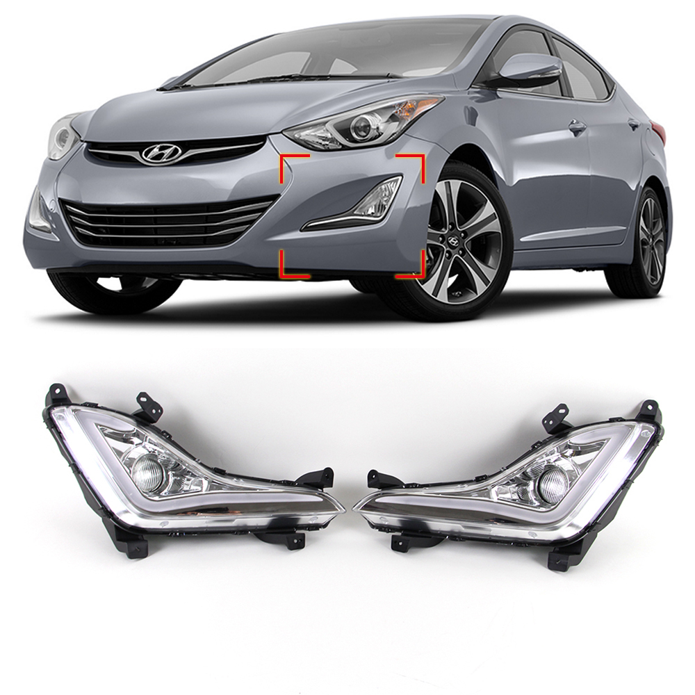 Car DRL kit for Hyundai Elantra 2014 2015 LED Daytime Running Light Bar Super bright auto fog lamp bulb daylight led drl light new car drl kit for toyota vios 2014 2015 led daytime running light bar turn signal fog auto lamp bulb daylight for car led drl