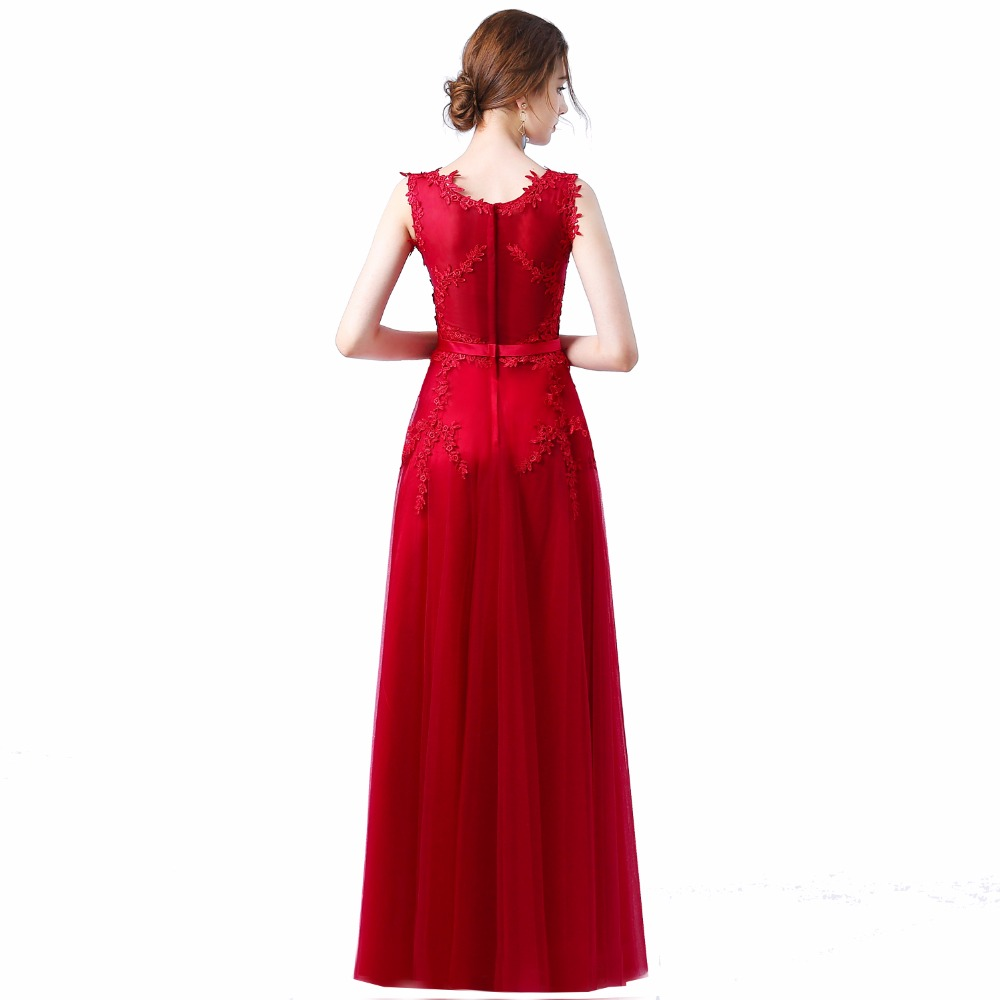 Robe de soiree 2018 Baru manis renda merah jambu panjang gaun malam - Gaun acara khas - Foto 2