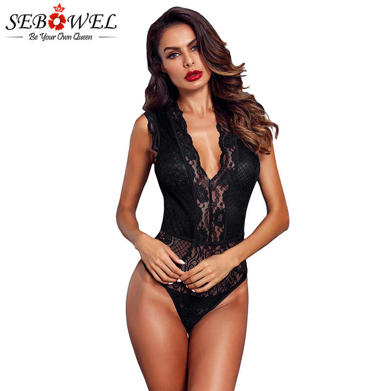 SEBOWEL Sexy Black Floral Lace Bodysuit Women Sleeveless