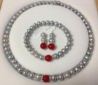 8〜8.5ミリメートルグレーアコヤ養殖真珠/赤カルセドニーのブレスレットネックレスイヤリングファッションジュエリーセット天然石(
