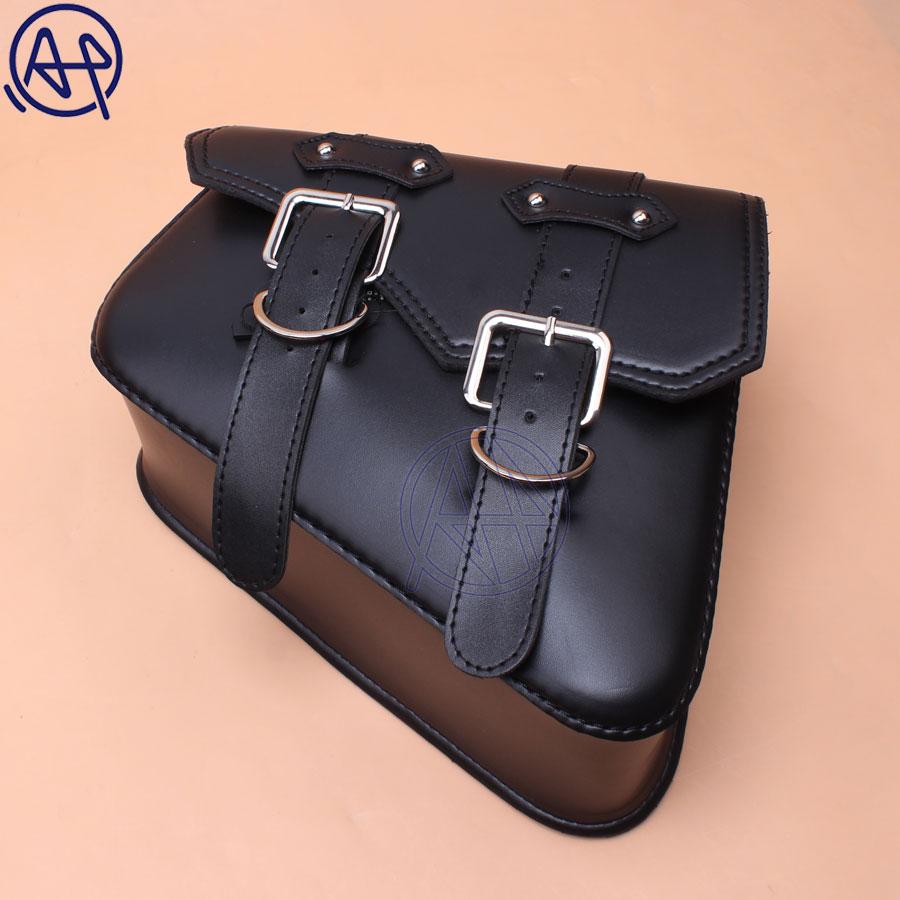 92731e825525 For Honda Suzuki Harley Sportster XL 883 XL1200 Black PU Leather Saddle Bag  Motorcycle Luggage Left+Right Side Tool Bag