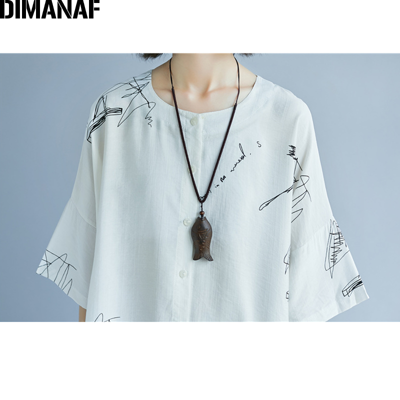 DIMANAF Women Summer Blouse Shirt Plus Size Print Linen Thin Basic Tops Femme Tee Casual Large Clothing Loose Soft Cardigan 2018 5