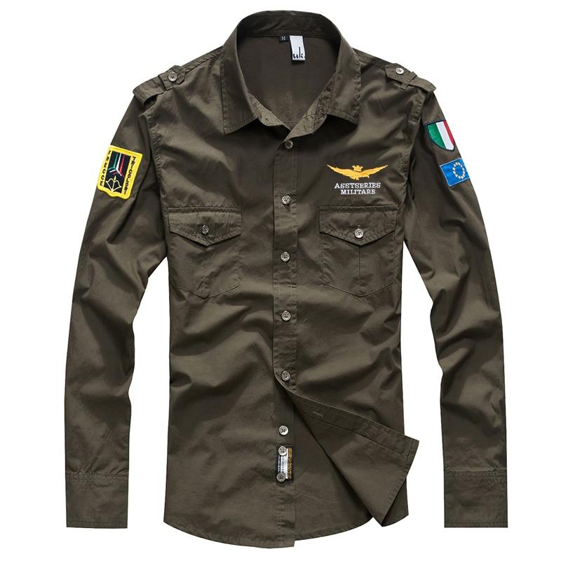 Hommes style décontracté de haute qualité couleur unie chemise à manches longues Air Force One pilot chemise de grande taille S-4XL