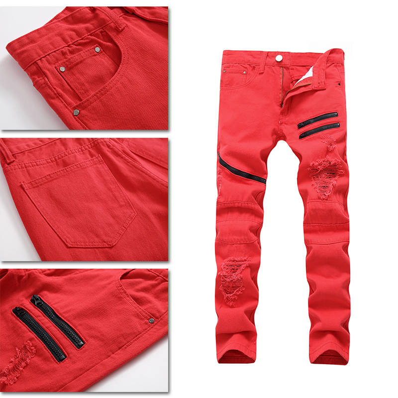 1Pcs NEW Mens jeans Casual trousers Solid color Stretch jeans