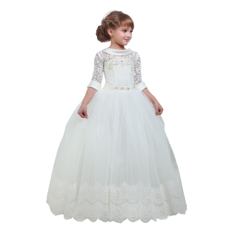 Little   Girls   Birthday Gowns Lace Up Back High Quality   Flower     Girl     Dress   For Wedding Lace Appliques Kids Ball Gown Vestidos