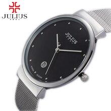 Горячая Ультратонкий мужчины стали наручные часы мужская бизнес аналоговый календарь мода повседневная Япония кварцевые часы Известная марка Julius 426