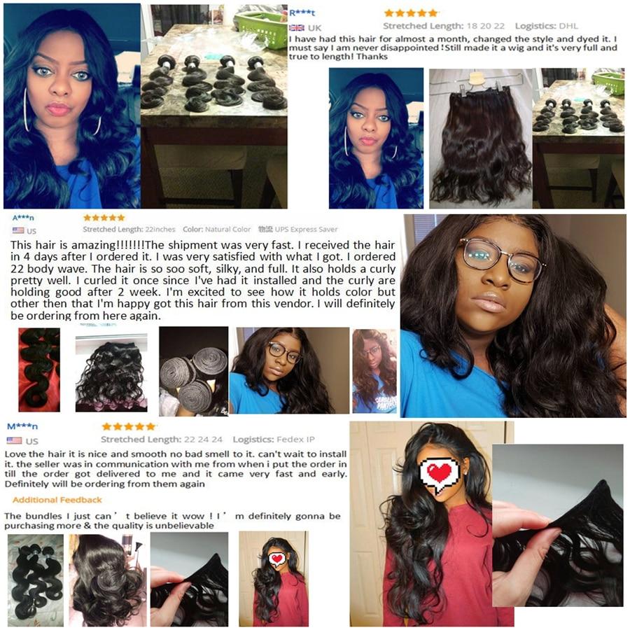RXY perujski snopi las snopi za telo valovito barvo 100% remi - Človeški lasje (za črne) - Fotografija 3