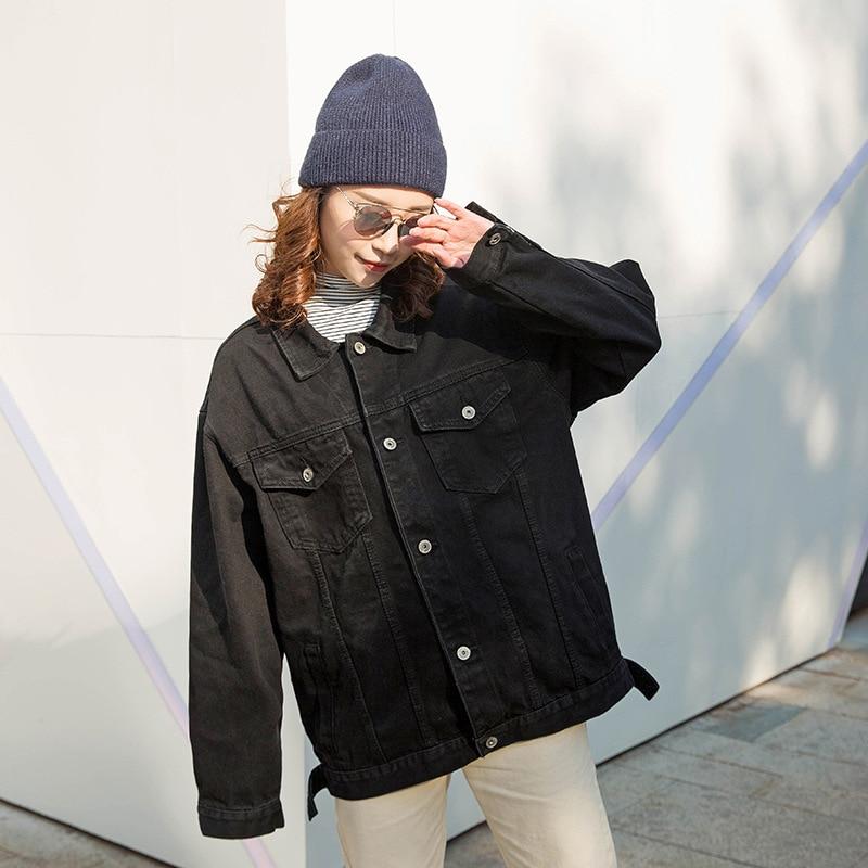2019 Women jeans   jacket   black long   basical   denim   jacket   coat single breasted Full Sleeves BF fashion loose Women Denim coats