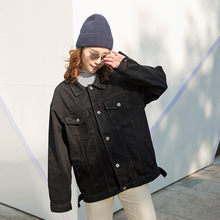 2019 Women jeans jacket black long basical denim ja