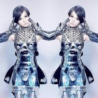 Для женщин преувеличены робот Броня сценический костюм шоу одежда для сцены Dj Ds певица Одежда для танцев костюмы вечерние платье комплекты
