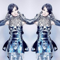 Women's Exaggerated Robot Armor Costume Stage Show Performance Wear Dj Ds Female Singer Dance Wear Costumes Party Dress Sets