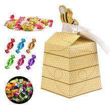 50pcs/Lot Cute Baby Shower Favor Cartoon Honey Bee Paper Candy Box Adorable Kids Birthday Party Decor Newborn Gifts