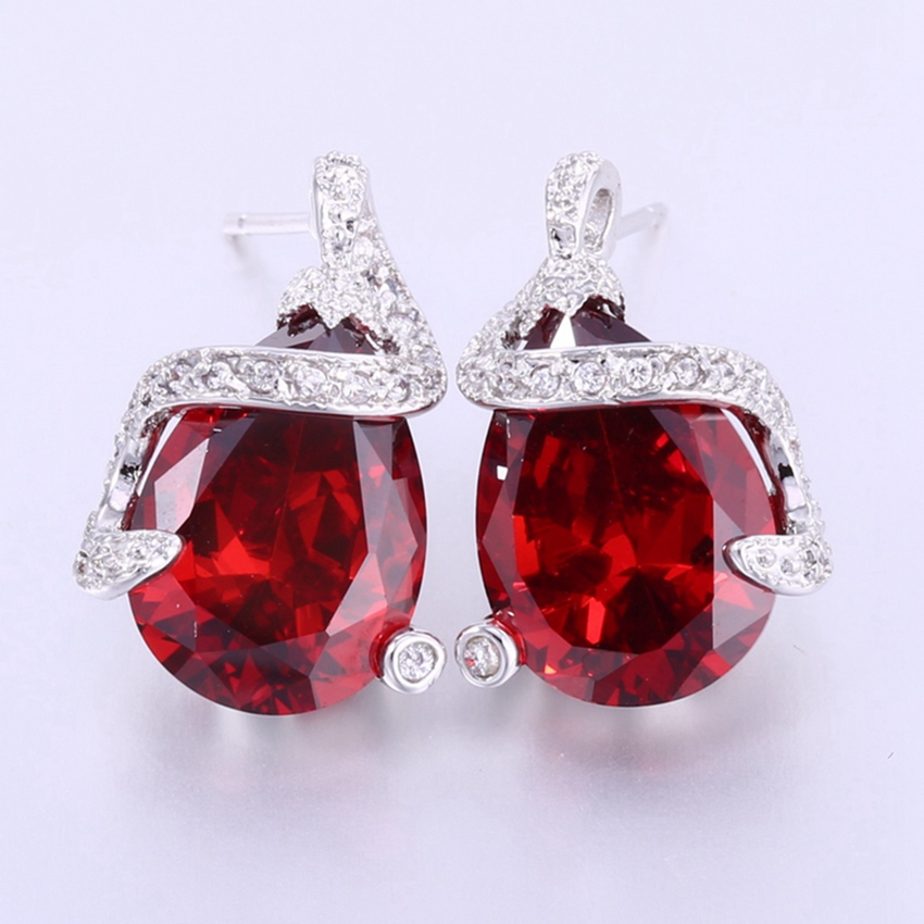 Zhe Fan Rose Red White Aaa Cubic Zirconia Fashion Stud Earrings For Female Valentines Day Gift Water Drop Shape Earring Jewelry