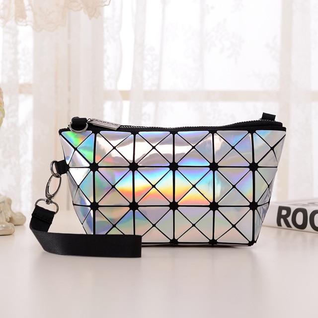 e6baf3ab46c New Fashion bao bao Issey Miyake Mini Plaid Metal Bag Geometric Diamond  Laser Tote Women Leather Handbags Famous Brand 5250