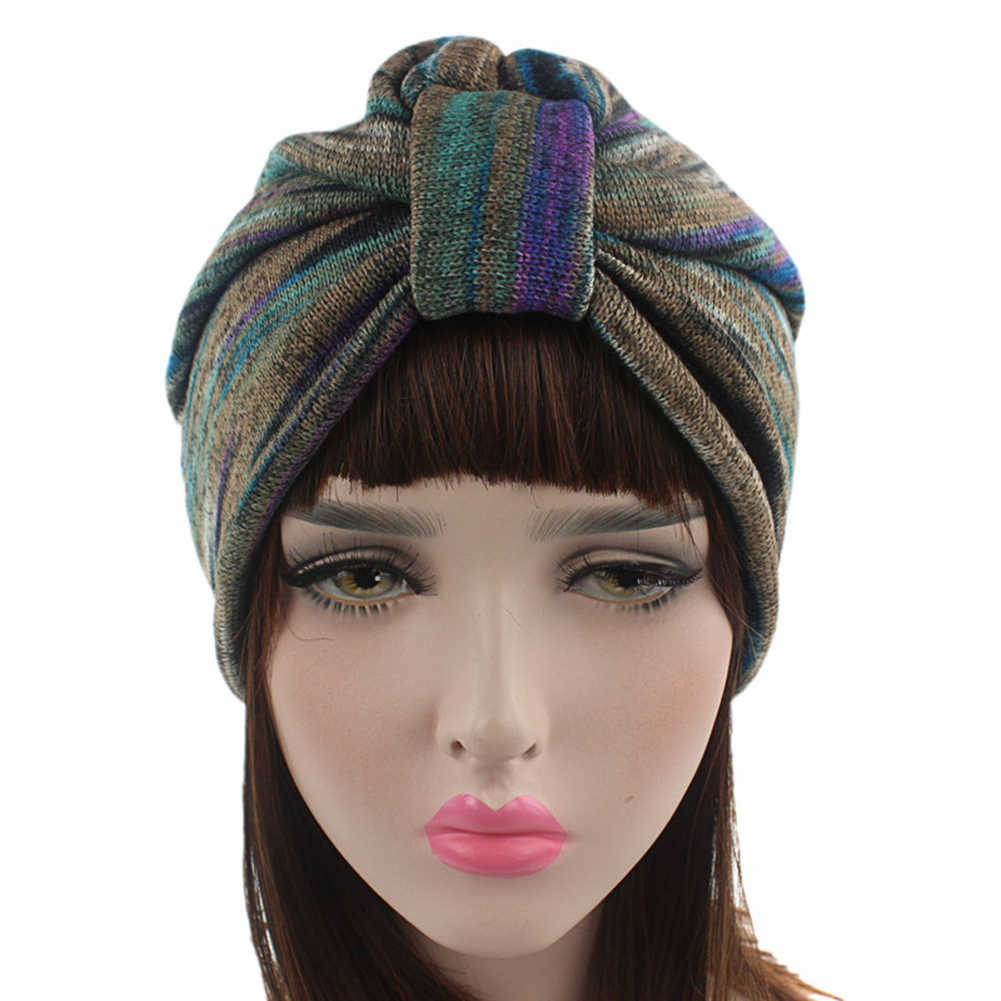 61bdbc0c0c3 New Autumn Winter Knotted Indian Cap Women Knitted Hair Accessories Warm  Turban Ladies Chemo Cap Hair