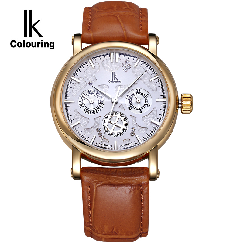 IK Colouring Automatic Self Wind Watch Nail Scale Multifunction Sub Dial Week Date Hollow Unique Carved Fashion Business Watch k colouring women ladies automatic self wind watch hollow skeleton mechanical wristwatch for gift box