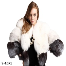 Winter woman coats 2018 fashion faux fur coat new short paragraph nine sleeves imitation fox stitching winter jackets