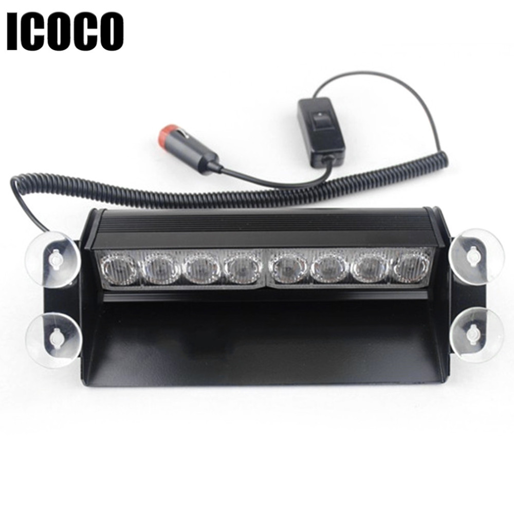 ICOCO 8 LED Grille Warning Flash Strobe Lights Lamps Blocks For Dashboard or Mounting onto the Windshield Red and Blue