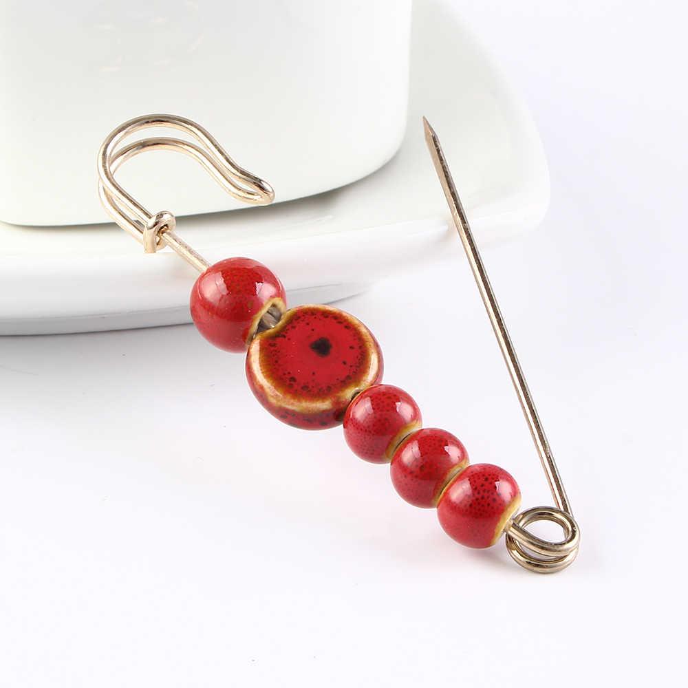Baru Kedatangan Fashion Sesuai dengan Pin Bros Manik-manik Buah Lapel Pesona Kristal Pin Merah Klasik Warna Biru Etnis Bros Perhiasan