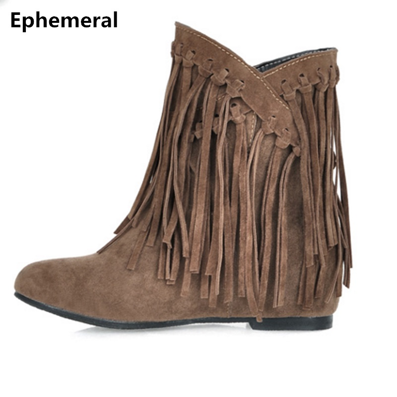 Ladies High increasing heel boots short tassel bootie with fur for winter and autumn chunky heels women warm shoes plus size 12 autumn and winter short cylinder boots with high heels boots shoes martin boots women ankle boots with thick scrub size35 39