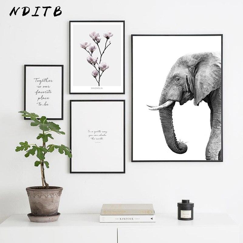 Elefante flor cartaz da lona preto branco escandinavo arte da parede impressão pintura estilo nórdico quadro decorativo sala de estar decoração